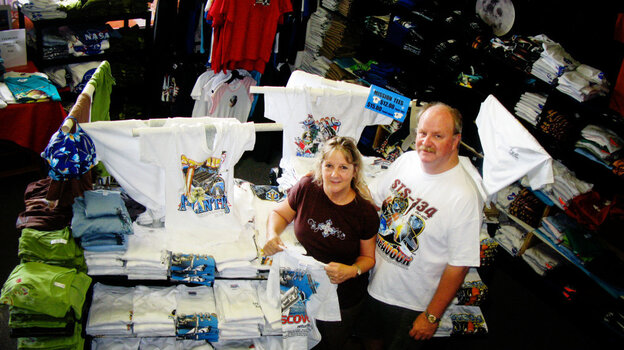 Brenda Mulberry runs a T-shirt and custom merchandise shop just a few miles from Kennedy Space Center. Her husband, Gerry, was let go last month after spending most of his adult life working as a contractor on NASA's shuttle program.
