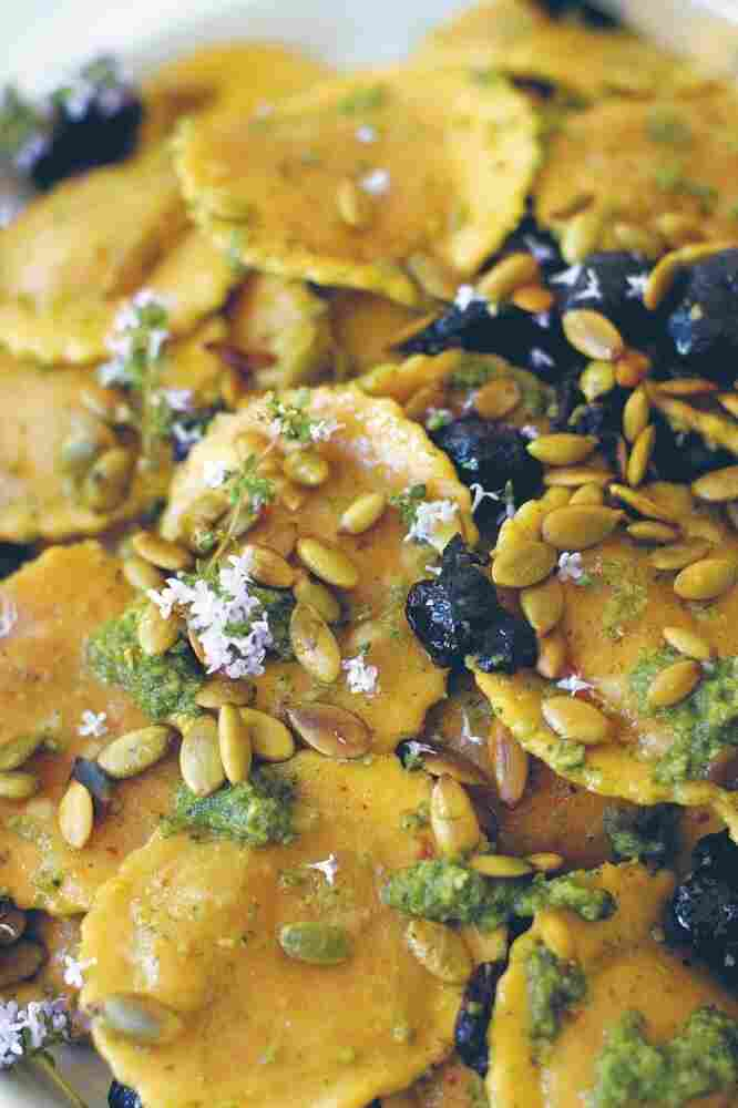 Ravioli Salad with Black Olives and Pepitas from Super Natural Every Day by Heidi Swanson