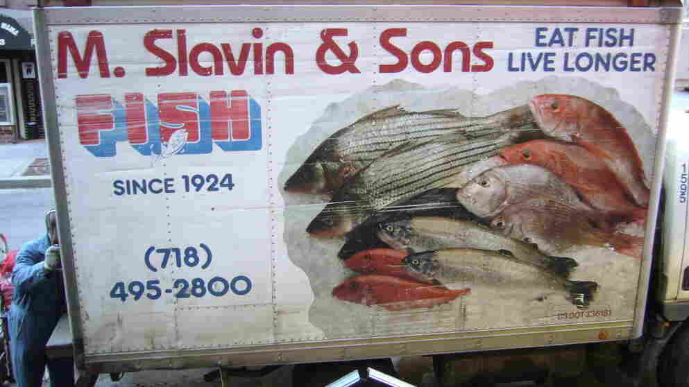Fish trucks like this one, touting the health benefits of seafood, are ubiquitous in New York.