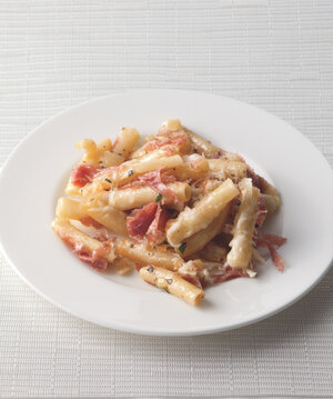 Baked Ziti In Bianco With Fontina & Salami from Radically Simple by Rozanne  Gold.