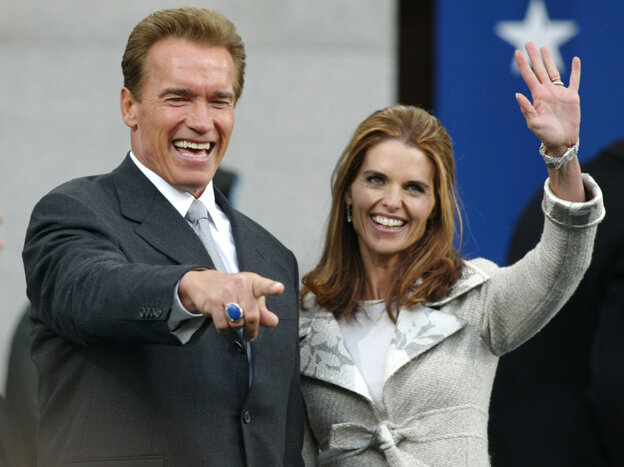 Happier times: Nov. 17, 2003, Arnold Schwarzenegger is sworn in as governor of California. His wife, Maria Shriver, was by his side.