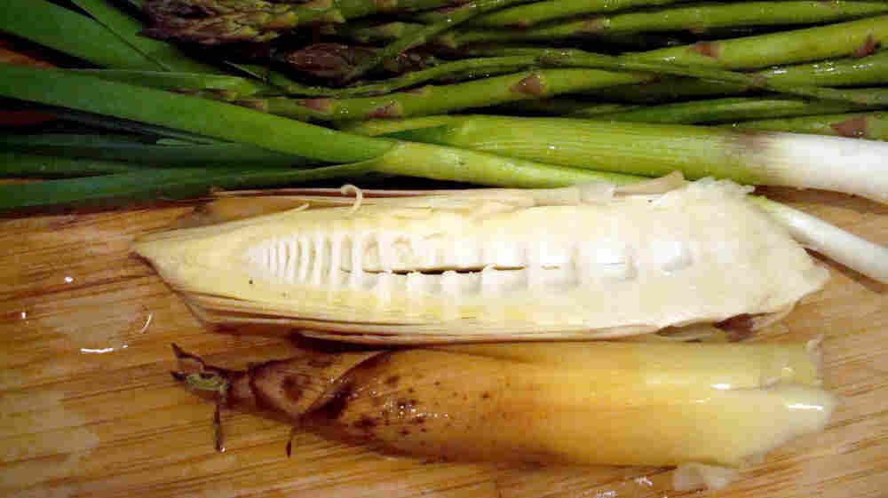 Bamboo shoots (bottom) with seasonal asparagus and green garlic