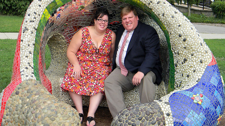 Brian and Jennifer Barfield met at a networking group for the unemployed. This is one of their engagement photos.