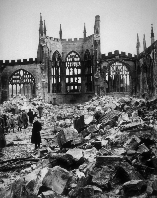 Coventry Cathedral in ruins, November 1940. Britten's War Requiem was written for the church's reconsecration more than 20 years after it was destroyed by German bombers.