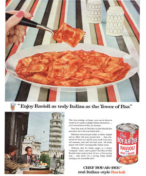 """""""Enjoy Ravioli as truly Italian as the Tower of Pisa,"""" read a Chef Boyardee ad that ran in Ladies' Home Journal. Click Here To See A Larger Version Of The Ad"""
