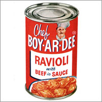 Boyardee can of ravioli.