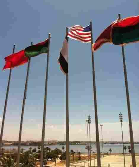 A homemade American flag flies over Benghazi.
