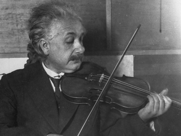 Albert Einstein plays violin.