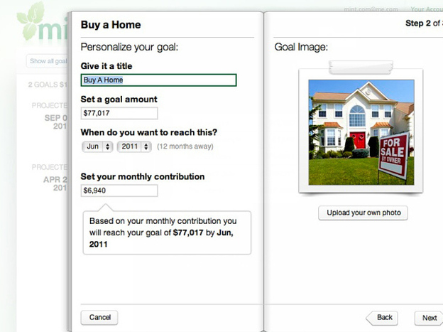 A screenshot shows how a Mint.com user can set up a budget to save for a house.