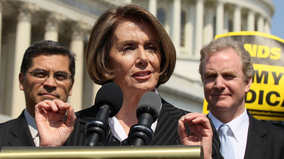 House Minority Leader Nancy Pelosi (D-CA), shown with Reps. Xavier Becerra (D-CA, left) and Chris Van Hollen (D-MD), speaks at an April news conference on Capitol Hill. Pelosi says the Republicans' Medicare plan is a political boon to her party.