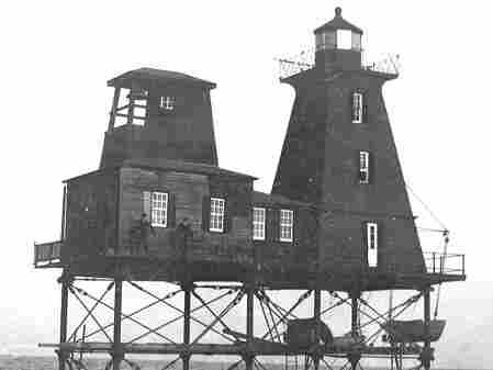 The Southwest Reef lighthouse, on the  Atchafalaya River near Berwick, La., is likely to be affected by the diversion  of floodwaters. Above, it is pictured at its old location in the Atchafalaya  Bay, before it was moved in 1987.