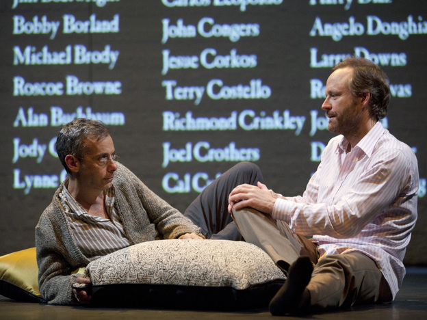 Joe Mantello as Larry Kramer's alter ego Ned Weeks and John Benjamin Hickey as Felix Turner in the revival of <em>The Normal Heart</em> on Broadway.