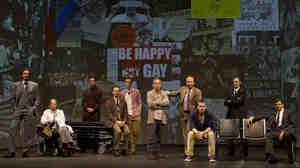 The Broadway cast of Larry Kramer's The Normal Heart, from left: Lee Pace, Ellen Barkin, Wayne Alan Wilcox, Patrick Breen, Jim Parsons, Joe Mantello, John Benjamin Hickey, Luke Macfarlane, Richard Topol and Mark Harelik.