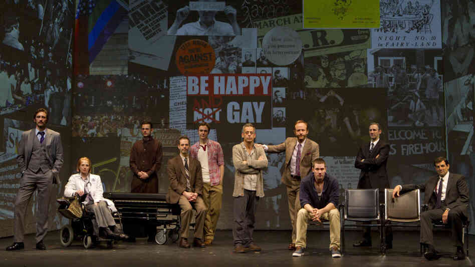 The Broadway cast of Larry Kramer's The Normal Heart, from left: Lee Pace, Ellen Barkin, Wayne Alan Wilcox, Patrick Breen, Jim Parsons, Joe Mantello, John Benjamin Hickey, Luke Macfarlane, Richard Topol and Mark Harelik.
