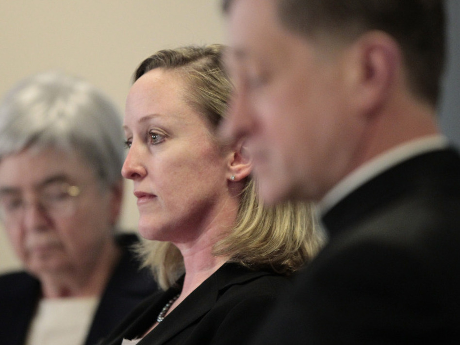 Mary Ann Walsh, Karen Terry from John Jay College of Criminal Justice, and Bishop Blase Cupich of Spokane Wash., during a Wednesday news conference by the U.S. Conference of Catholic Bishops releasing the findings of a study to analyze the pattern of clergy sex abuse, at USCCB headquarters in Washington, D.C.. (Pablo Martinez Monsivais/AP)
