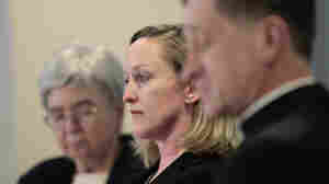 Mary Ann Walsh, Karen Terry from John Jay College of Criminal Justice, and Bishop Blase Cupich of Spokane Wash., during a Wednesday news conference by the U.S. Conference of Catholic Bishops releasing the findings of a study to analyze the pattern of clergy sex abuse, at USCCB headquarters in Washington, D.C..
