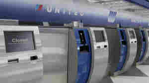 A United Airlines check-in counter at O'Hare International Airport