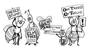 Bees with signs.