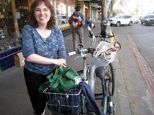 Beth Terry of Oakland, Calif., doesn't own a car and takes her bike out  to do shopping. She keeps tallies of her plastic waste on her blog.