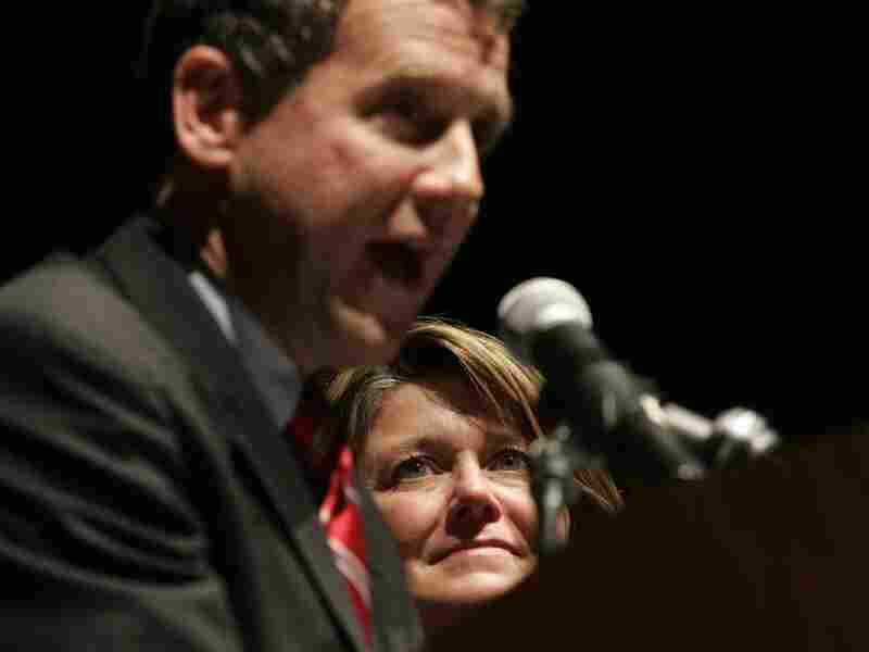 Connie Schultz, a Pulitzer Prize-winning journalist, watches as her husband, Ohio Democrat Sherrod Brown, gives his victory speech after being elected senator in 2006.