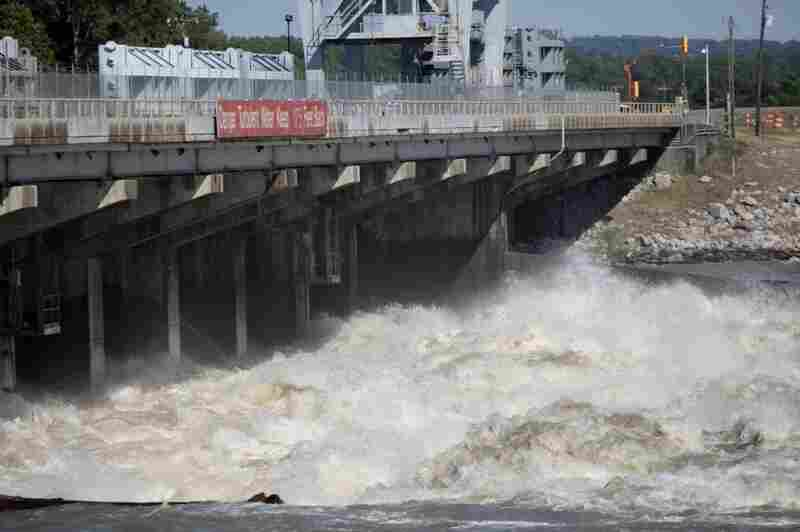 Water from the Mississippi River rushes through the Old River Control  Structure toward the Atchafalaya Basin in Concordia Parish, La. The gates were opened to help relieve rising floodwaters.