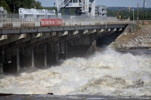 Water from the Mississippi River rushes through the Old River Control  Structure towards the Atchafalaya Basin in Concordia Parish, La. The gates were opened to help relieve rising floodwaters.