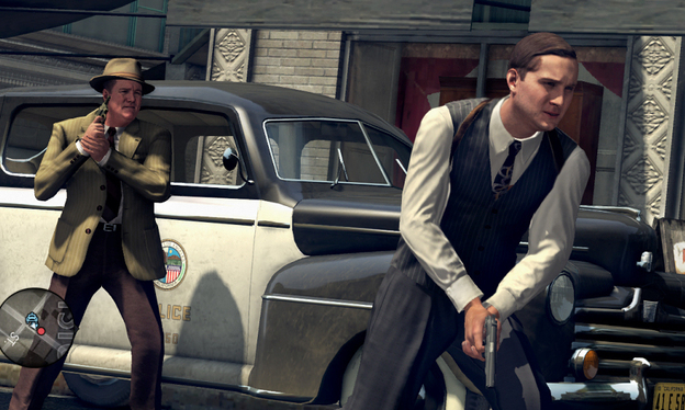 Players of the game <em>L.A. Noire</em> are represented by Cole Phelps (right), who has to find clues to solve a complex crime case in 1940s Los Angeles.