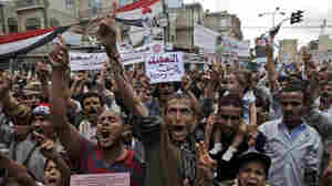 Anti-government protestors in Sanaa, Yemen on Tuesday, May 17, 2011.