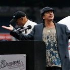 ATLANTA, GA - MAY 15:  Musician Carlos Santana prior to receiving the MLB Beacon Awards at the Civil Rights game between the Atlanta Braves and the Philadelphia Phillies at Turner Field  in Atlanta, Georgia.
