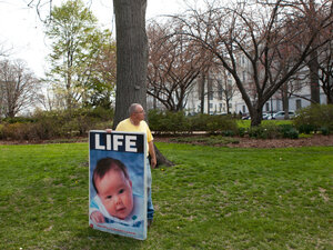 Stewart Schwartz of Laurel, Md., attends a rally opposing federal funding for Planned Parenthood on Capitol Hill on April 7, 2011.