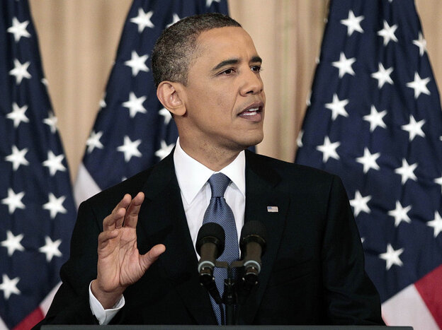 President Obama delivers a policy address on events in the Middle East and North Africa at the State Department in Washington, on Thursday.