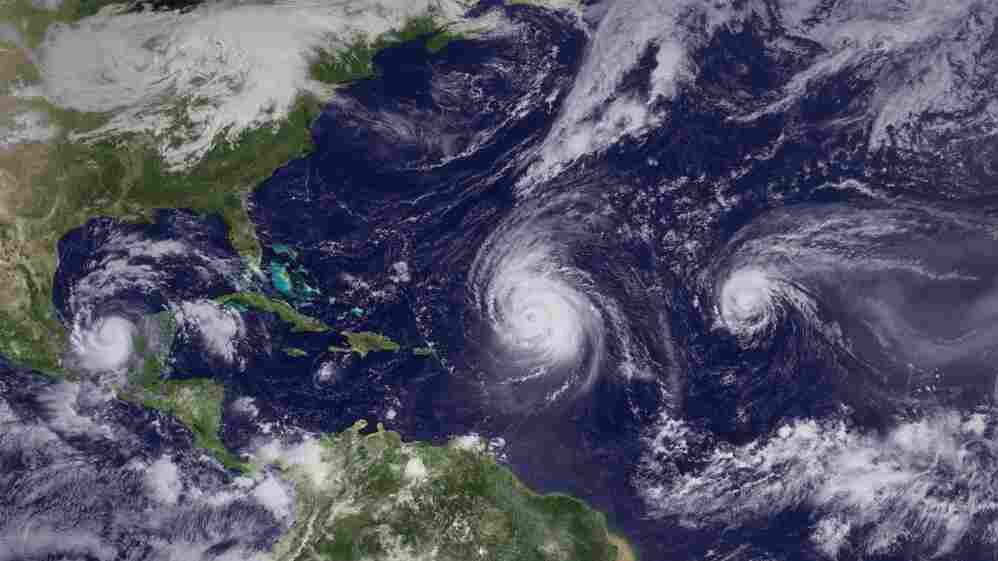 Hurricanes Karl, Igor and Julia (from left to right on Sept. 16) were part of the onslaught of Atlantic storms of the 2010 hurricane season.