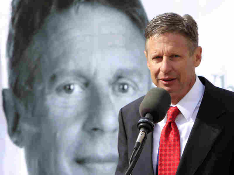 Former New Mexico Gov. Gary Johnson announces his plans to seek the Republican nomination for president on April 21.