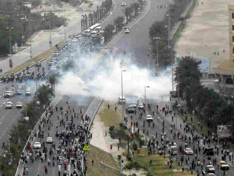 Bahraini police fired tear gas to disperse protesters gathered at Pearl Square in Manama on March 13. The square was the epicenter of anti-government protests.