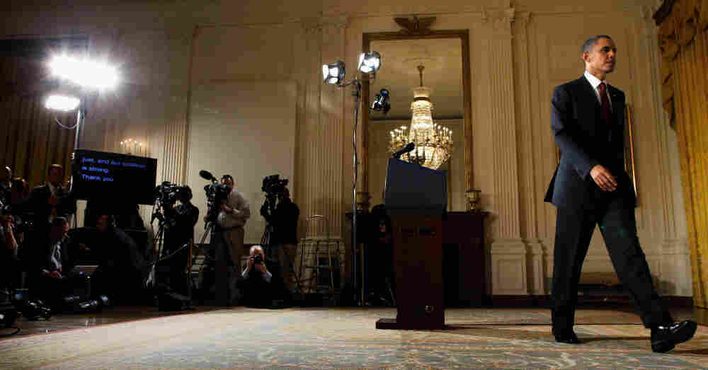 U.S. President Barack Obama leaving the East Room of the White House after delivering a statement about Libya on. After the UN authorized a no-fly zone over Libya, the U.S. and allied forces launched attacks on Gadhafi forces.
