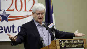 Former House Speaker Newt Gingrich speaks to local party activists Thursday in Waterloo, Iowa.   Gingrich says his campaign is alive and well despite an angry response by some Republicans to earlier comments he made about a House Republican plan to dramatically change Medicare.