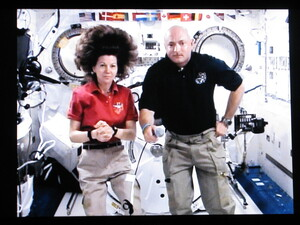 Expedition 27 flight engineer Cady Coleman and Endeavor shuttle commander Mark Kelly speak with Weekend Edition Saturday host Scott Simon (not pictured) from aboard the International Space Station.