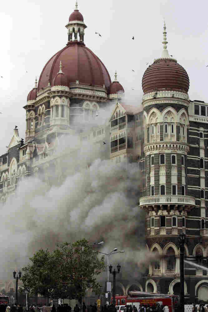 Smoke pours out of the Taj Mahal Hotel in Mumbai, India, on Nov. 29, 2008, during a 60-hour rampage that killed more than 160 people.