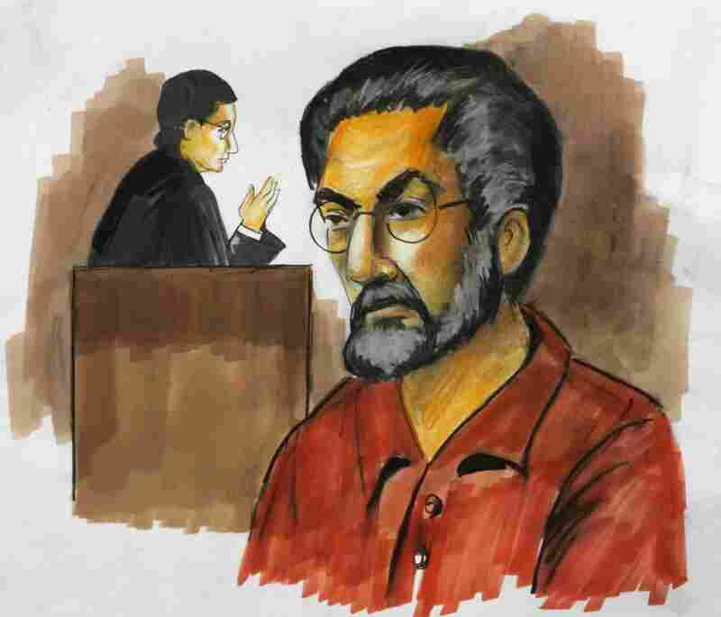 In this courtroom sketch, Tahawwur Hussain Rana appears before federal judge in Chicago on Dec. 2, 2009. Rana is accused of helping facilitate the 2008 rampage in Mumbai, India.