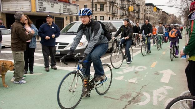 On the Prospect Park West bike lane, in Brooklyn. (Daniel S. Burnstein)