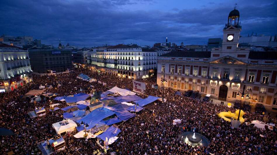 Protests in Madrid on Madrid Thursday May 19, 2011. (AP)