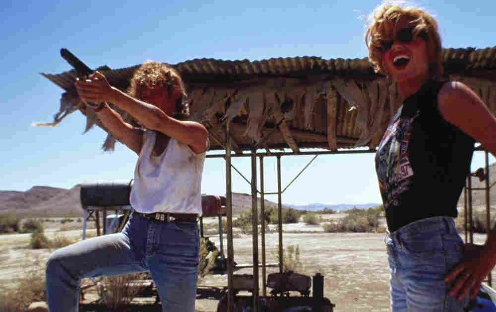 A still from the 1991 film Thelma & Louise, written by Callie Khouri and directed by Ridley Scott. The title characters, played by Geena Davis (right) and Susan Sarandon, have become icons of liberation.