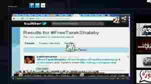 The newly founded Egyptian news channel 25TV broadcasts online at 25online.tv. In this image from a show  called Hashtag, the host discusses the Twitter hashtag #FreeTarekShalaby, which  began after Shalaby, an Egyptian activist, was arrested during protests outside  the Israeli embassy in Cairo. He was later released.
