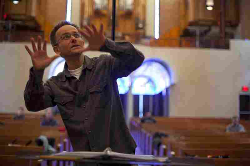 """Craig Hella Johnson, artistic director and conductor for Conspirare, leads rehearsal for """"Renaissance and Response"""". Conspirare was founded in 1991 in Austin, Texas. The five-time Grammy nominated group has evolved into an internationally recognized, professional choral organization that performs across the U.S. as well as overseas."""