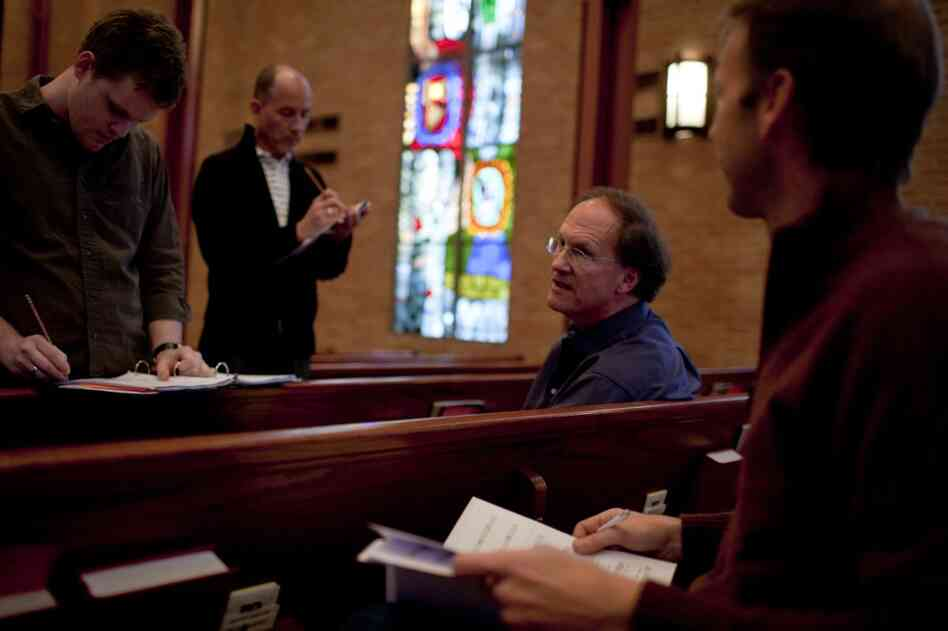 "Robert Kyr (third from left), composer-in-residence for the choral group Conspirare, works with musicians and singers (from left) Greg Luce, Stephen Redfield and Greg Sauer during rehearsal for the concert series ""Renaissance and Response""."