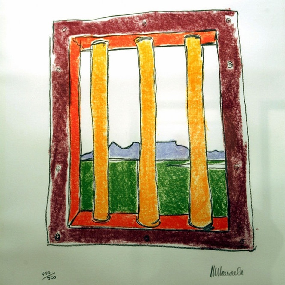 One of Mandela's artworks depicting his cell on Robben Island was exhibited at a Johannesburg gallery, May 31, 2005.