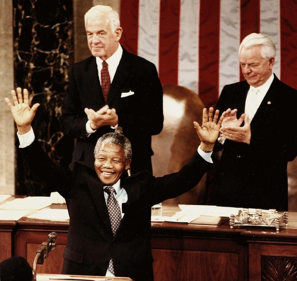 Mandela responds to applause following his address to Congress in Washington, D.C. on June 26, 1990. He was the third private citizen in history to address a joint session of Congress.