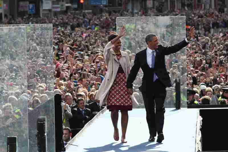 President Obama and first lady Michelle Obama at a rally on College Green in Dublin. The Obamas are visiting Ireland for one day.