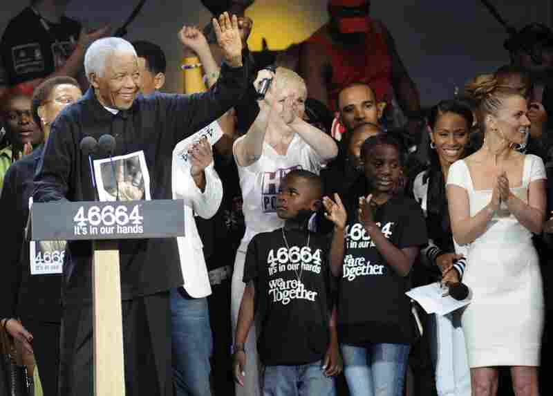 Mandela at a charity concert in honor of his 90th birthday in London, June 27, 2008.
