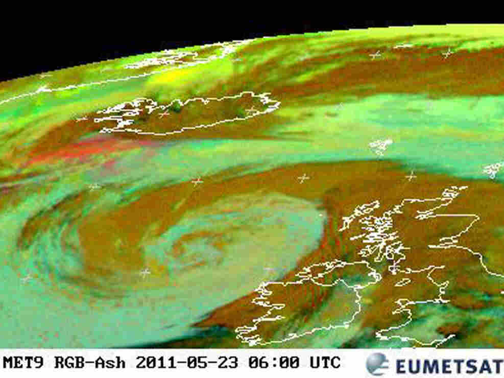 An image released by the the European Organization for the Exploitation of Meteorological Satellites earlier today (May 23, 2011) shows how the ash from Iceland (at top left) is heading toward Europe.